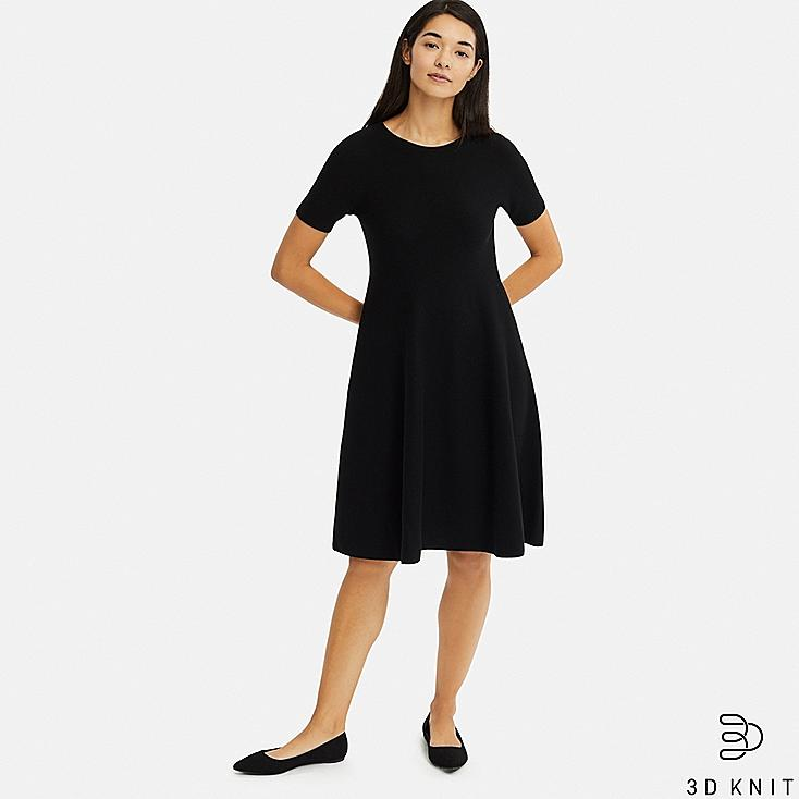 WOMEN 3D COTTON FLARE SHORT-SLEEVE DRESS, BLACK, large