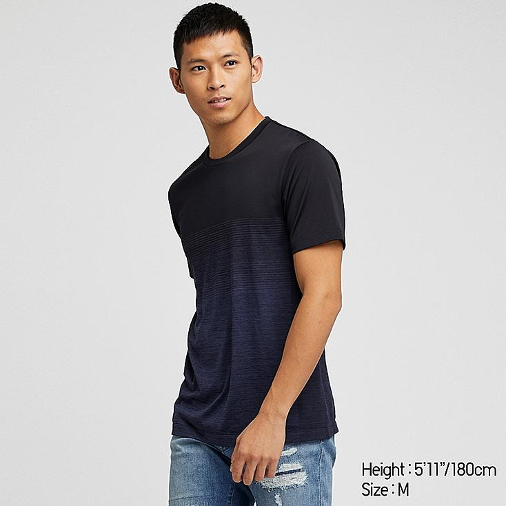 MEN DRY-EX CREW NECK SHORT-SLEEVE T-SHIRT, BLACK, large