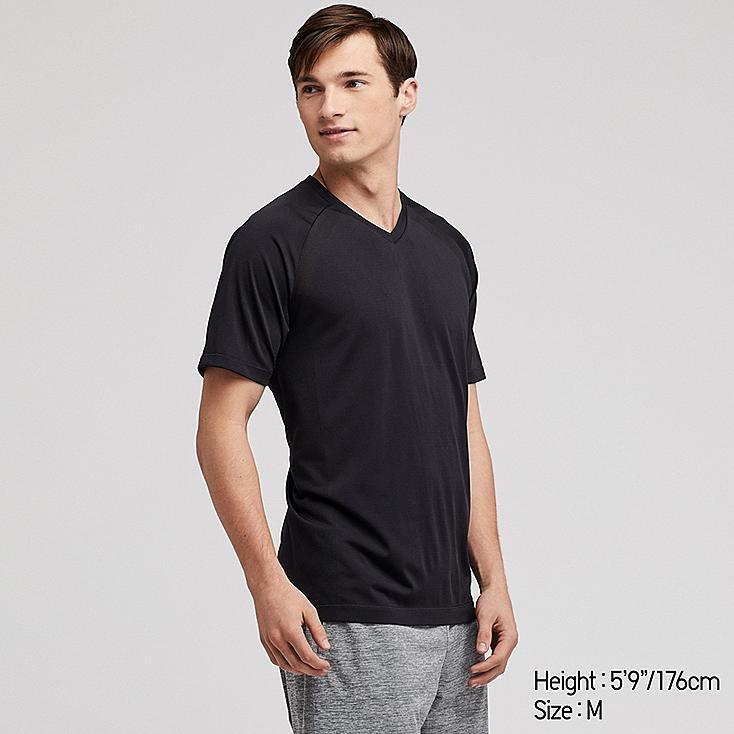 MEN DRY-EX V-NECK SHORT-SLEEVE T-SHIRT (ONLINE EXCLUSIVE), BLACK, large