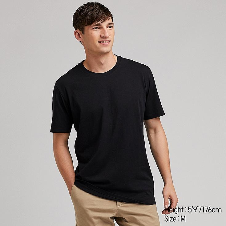 MEN SUPIMA® COTTON CREW NECK SHORT-SLEEVE T-SHIRT, BLACK, large
