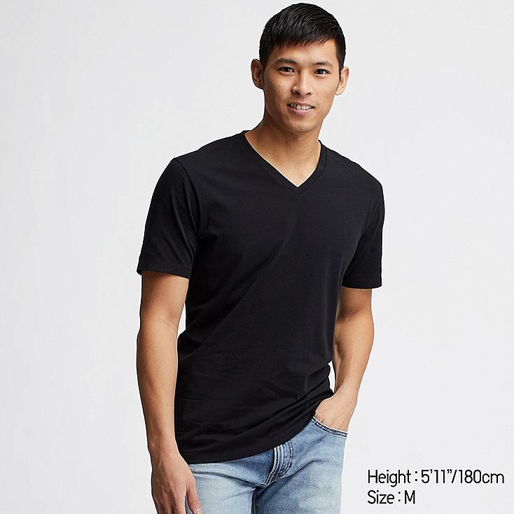 MEN SUPIMA® COTTON V-NECK SHORT-SLEEVE T-SHIRT, BLACK, large