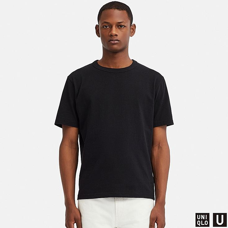 MEN U CREW NECK SHORT-SLEEVE T-SHIRT, BLACK, large