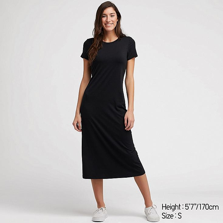 WOMEN SHORT-SLEEVE LONG BRA DRESS, BLACK, large