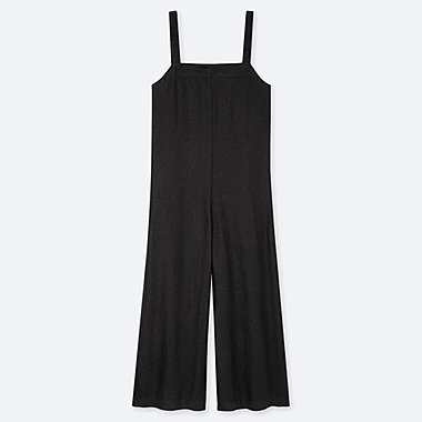 WOMEN LINEN BLEND JUMPSUIT, BLACK, medium