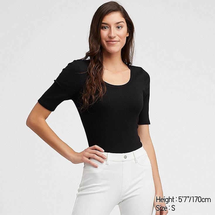 WOMEN RIBBED U-NECK HALF-SLEEVE T-SHIRT, BLACK, large