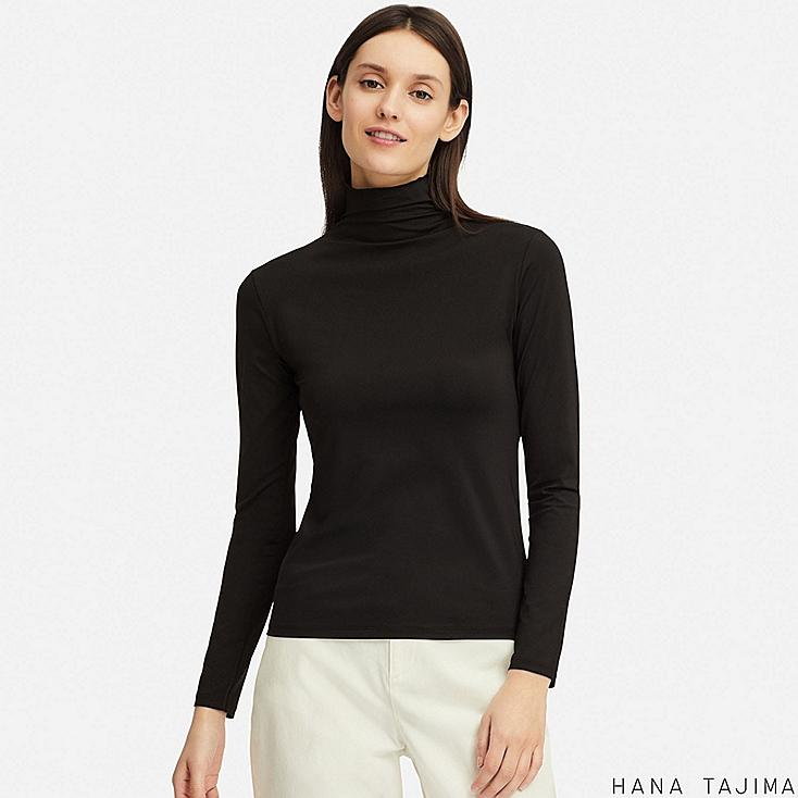 WOMEN AIRism UV CUT HIGH-NECK LONG-SLEEVE T-SHIRT (HANA TAJIMA), BLACK, large