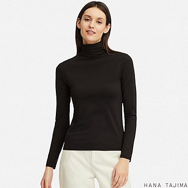 WOMEN AIRism UV CUT HIGH-NECK LONG-SLEEVE T-SHIRT (HANA TAJIMA), BLACK, medium