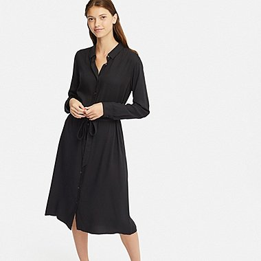 WOMEN RAYON LONG-SLEEVE DRESS, BLACK, medium