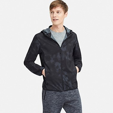MEN PATTERNED POCKETABLE PARKA, BLACK, medium