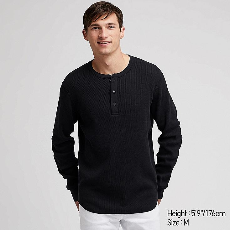 MEN WAFFLE HENLEY NECK LONG-SLEEVE T-SHIRT, BLACK, large