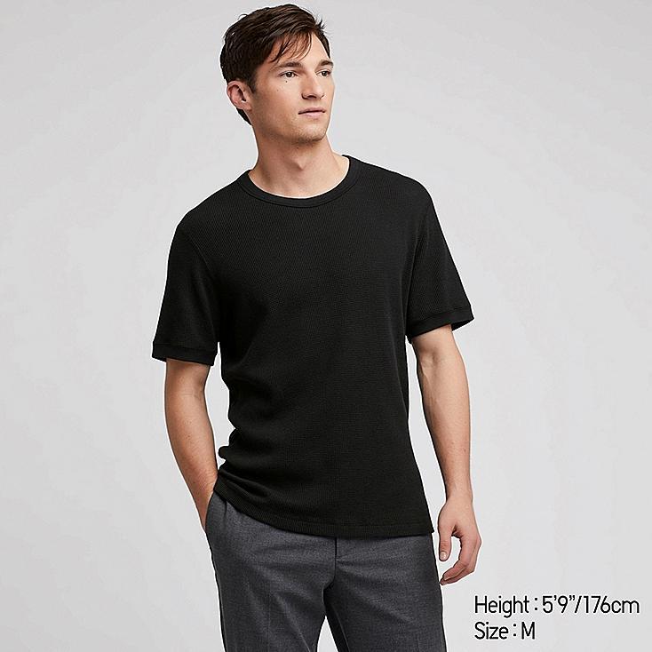 MEN WAFFLE CREW NECK SHORT-SLEEVE T-SHIRT, BLACK, large