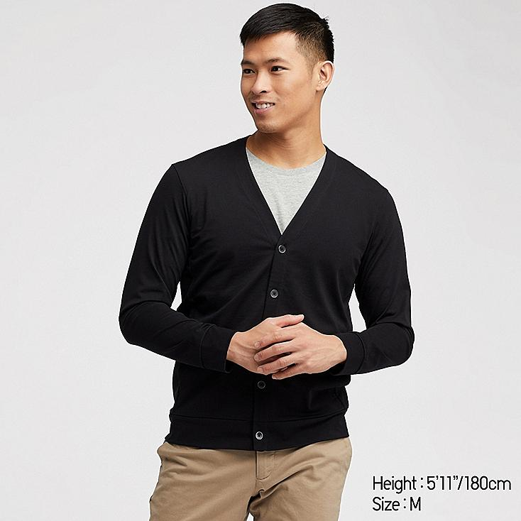 MEN AIRism UV CUT CARDIGAN, BLACK, large