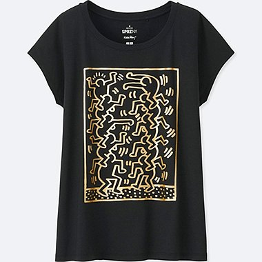 WOMEN SPRZ NY SHORT-SLEEVE GRAPHIC T-SHIRT (KEITH HARING), BLACK, medium