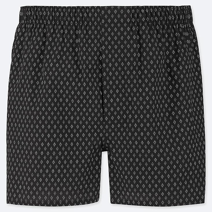 MEN WOVEN PRINTED BOXERS, BLACK, large