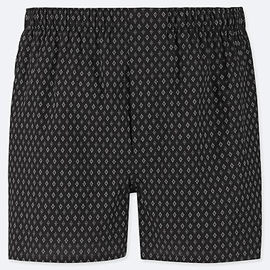 MEN WOVEN PRINTED BOXERS, BLACK, medium
