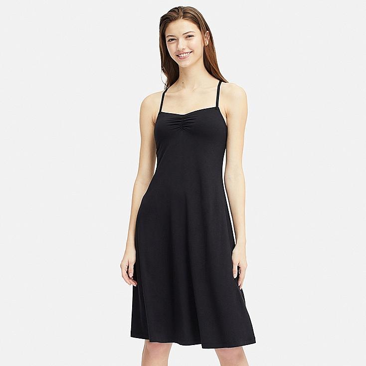 WOMEN CAMISOLE BRA DRESS, BLACK, large