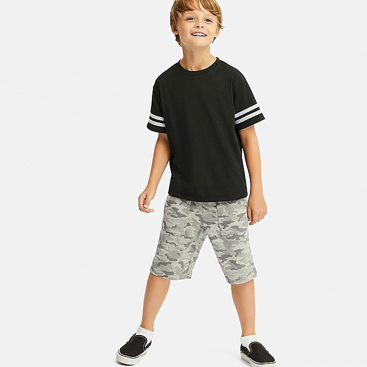 KIDS DRY-EX CREW NECK SHORT-SLEEVE T-SHIRT, BLACK, large