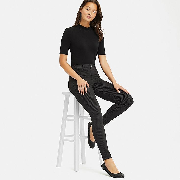 WOMEN ULTRA STRETCH PRINT LEGGINGS PANTS, BLACK, large