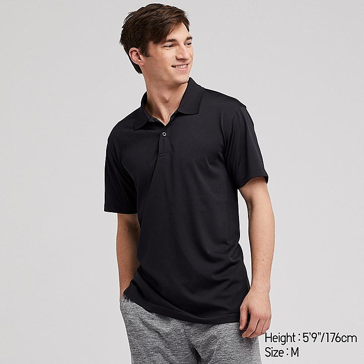 MEN DRY-EX SHORT-SLEEVE POLO SHIRT, BLACK, large