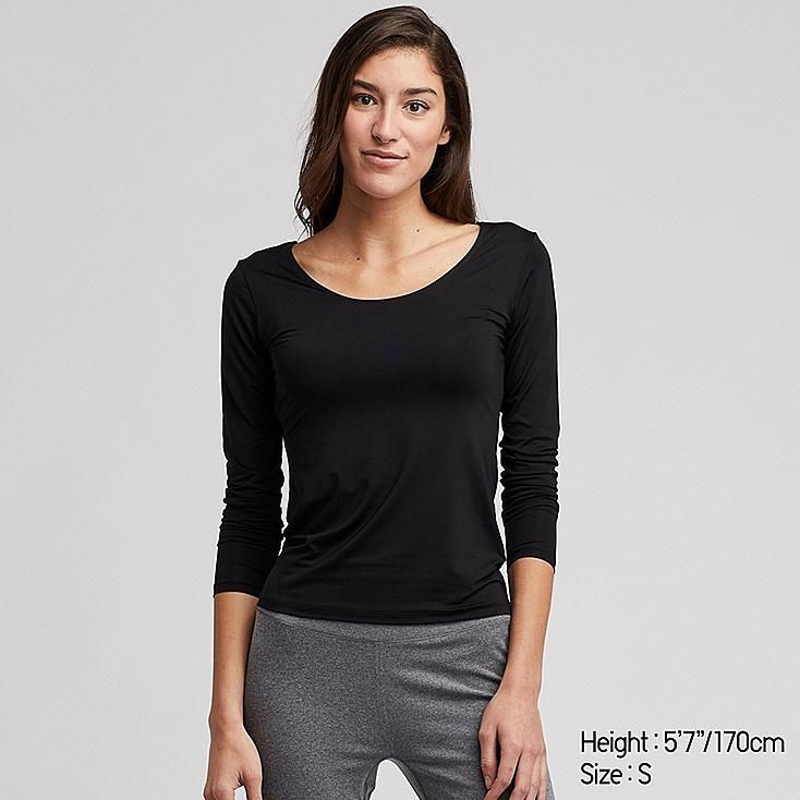 WOMEN AIRism UV CUT SCOOP NECK LONG-SLEEVE T-SHIRT, BLACK, large