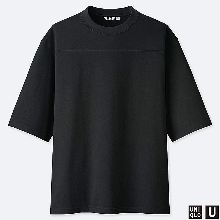 MEN U OVERSIZE CREW NECK HALF-SLEEVE T-SHIRT, BLACK, large