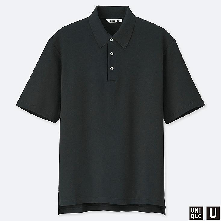 MEN U SUPIMA® COTTON SHORT-SLEEVE POLO SHIRT, BLACK, large