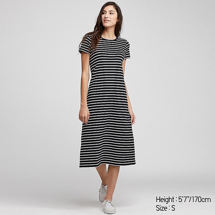 WOMEN STRIPED SHORT-SLEEVE LONG BRA DRESS, BLACK, large