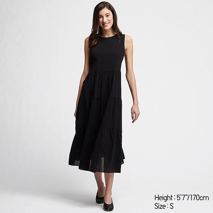 WOMEN COTTON LONG SLEEVELESS DRESS, BLACK, large