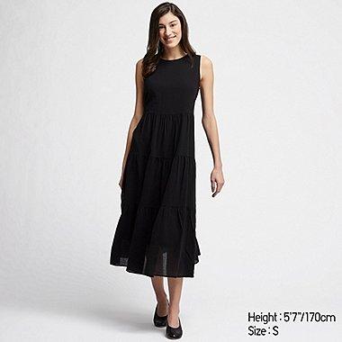 3a046137d33 WOMEN COTTON LONG SLEEVELESS DRESS