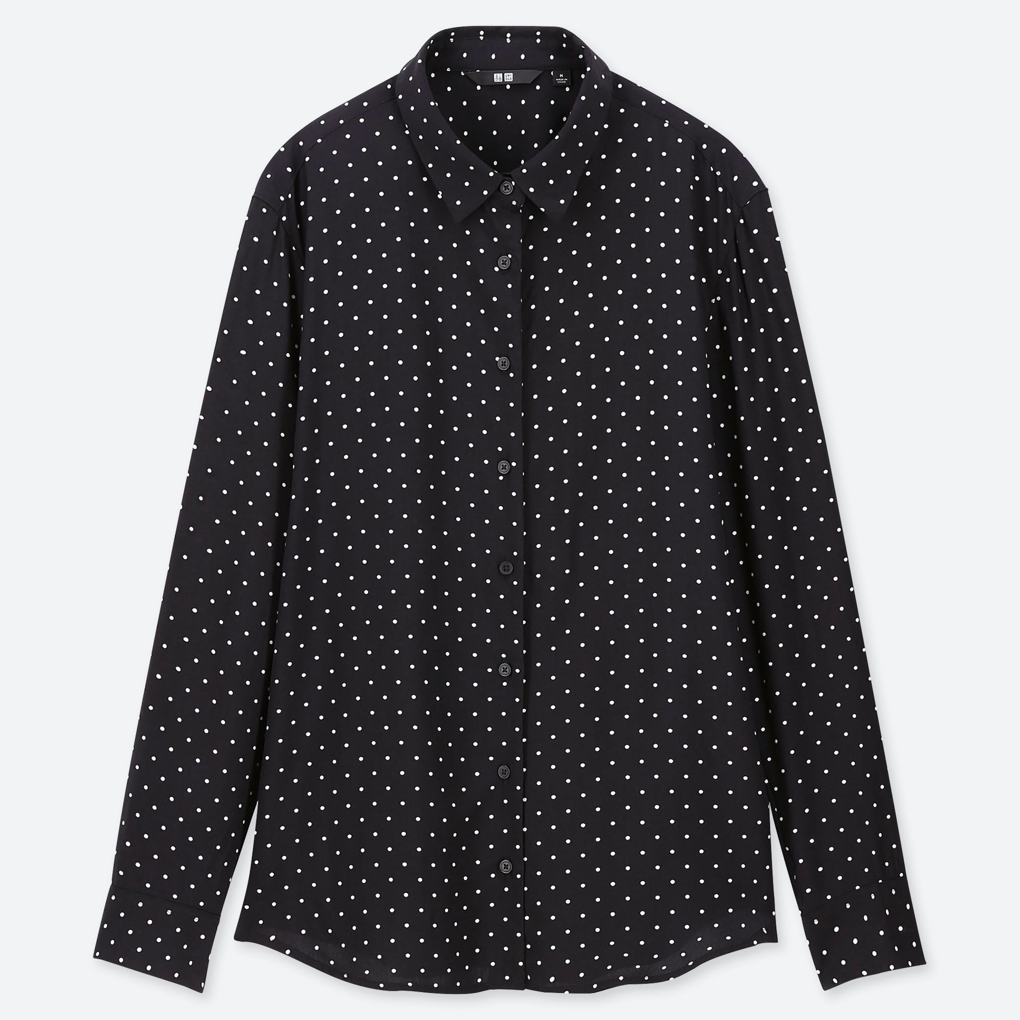 Uniqlo Women Rayon Printed Long-sleeve Blouse