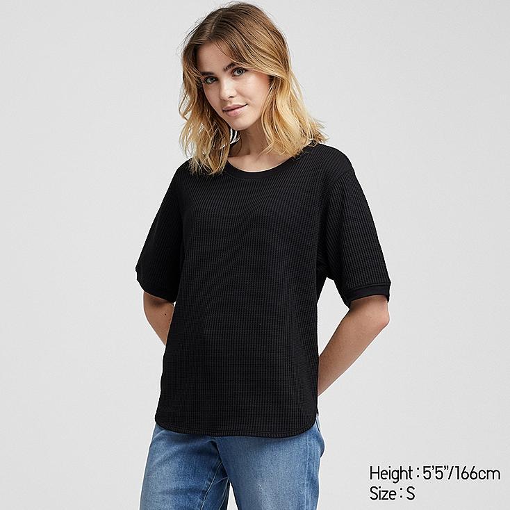 WOMEN WAFFLE CREW NECK SHORT-SLEEVE T-SHIRT, BLACK, large