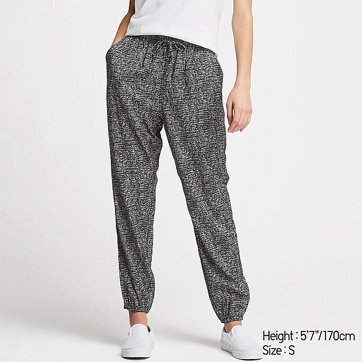 WOMEN DRAPE JOGGER PANTS, BLACK, large
