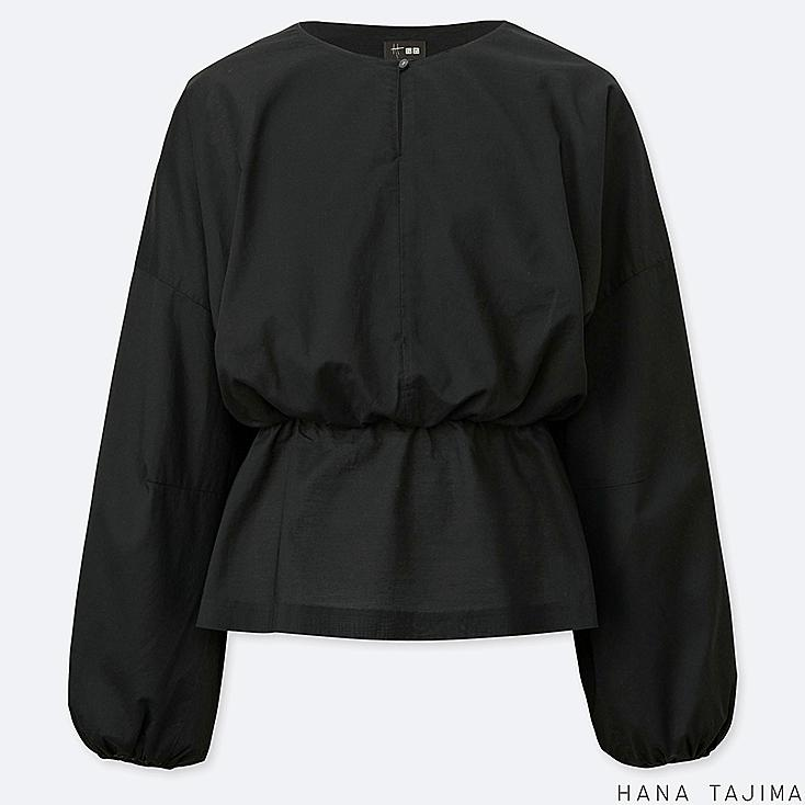 women gathered long-sleeve blouse