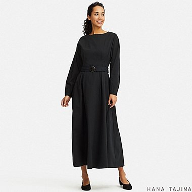WOMEN TUCK LONG-SLEEVE LONG DRESS (HANA TAJIMA), BLACK, medium