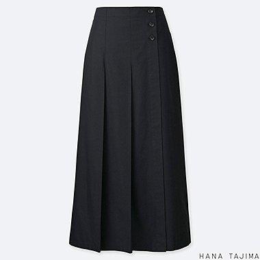 WOMEN TUCK FLARE LONG SKIRT (HANA TAJIMA), BLACK, medium