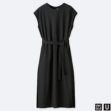 WOMEN U TUBE SHORT-SLEEVE DRESS, BLACK, medium