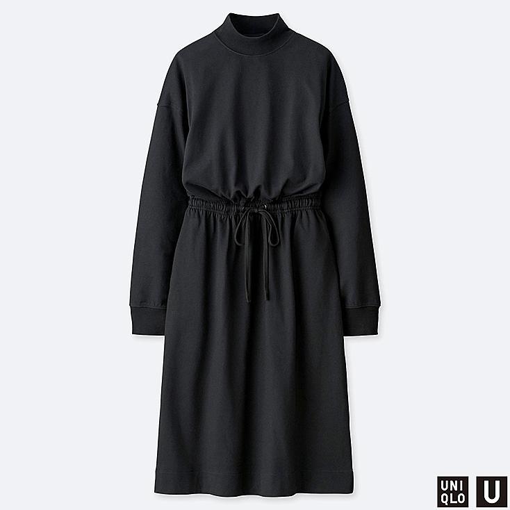 WOMEN U DRAWSTRING LONG-SLEEVE DRESS, BLACK, large