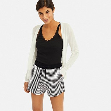 WOMEN AIRism STRIPE PILE SHORTS, BLACK, medium