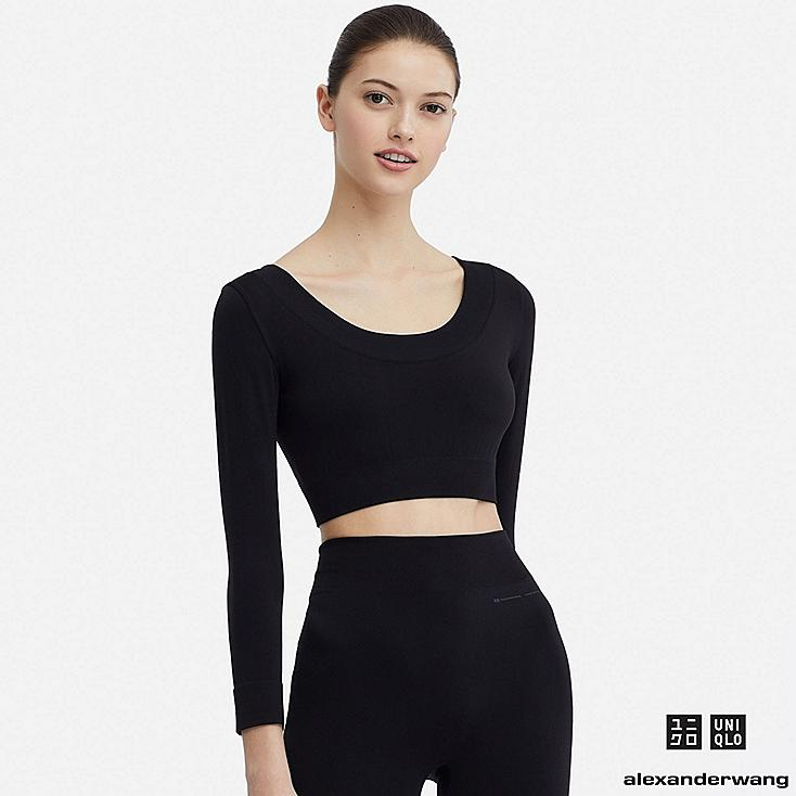 WOMEN AIRism SEAMLESS CROPPED LONG-SLEEVE T-SHIRT (ALEXANDER WANG), BLACK, large