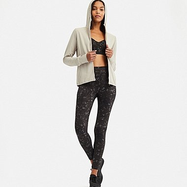 WOMEN AIRism PRINTED LEGGINGS, BLACK, medium