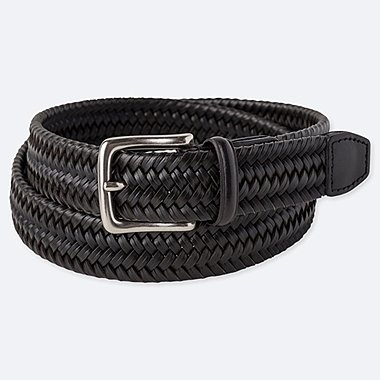 MEN BONDED LEATHER STRETCH MESH BELT, BLACK, medium