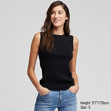 WOMEN SUPIMA COTTON UV CUT RIBBED SLEEVELESS JUMPER