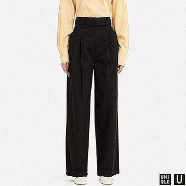 WOMEN U HIGH-WAIST TWO TUCKED PANTS, BLACK, medium