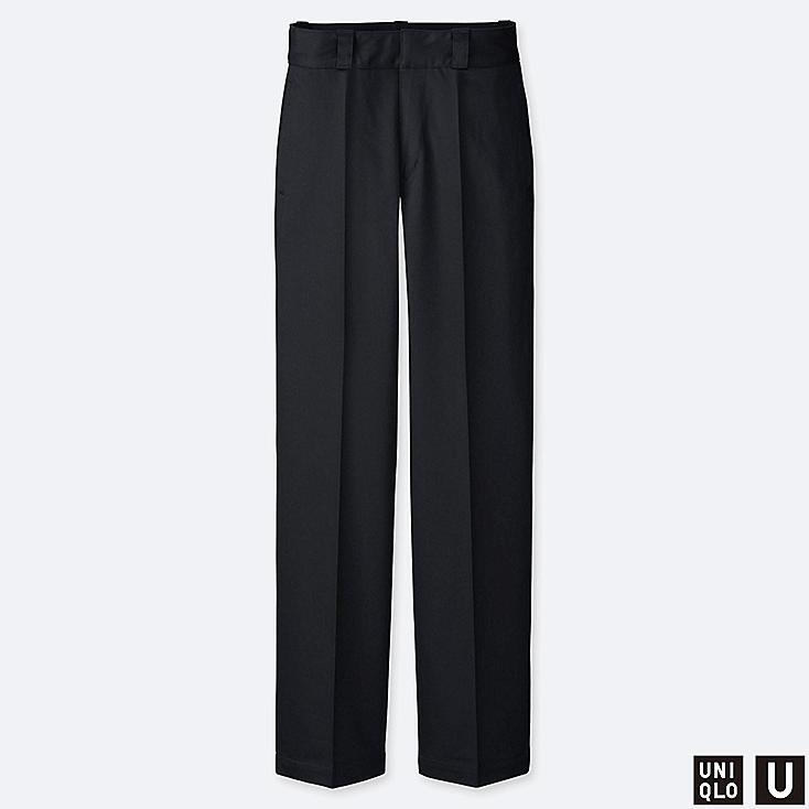 WOMEN U COTTON STRAIGHT PANTS, BLACK, large