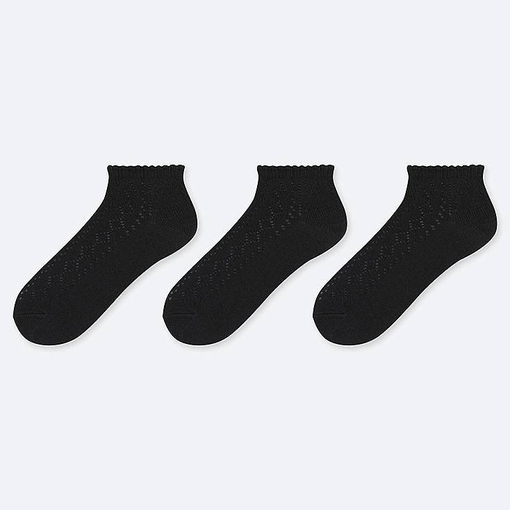 WOMEN MESH SHORT SOCKS (3 PAIRS), BLACK, large