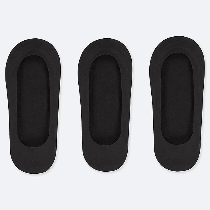 WOMEN SHEER FOOTSIES (3 PAIRS), BLACK, large