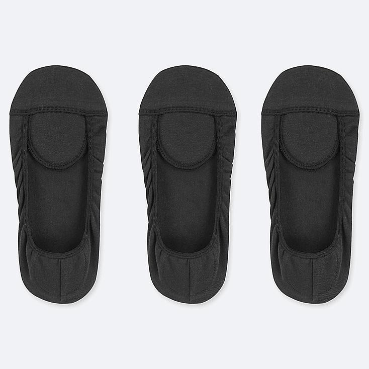 WOMEN SQUARE-CUT FOOTSIES (3 PAIRS), BLACK, large