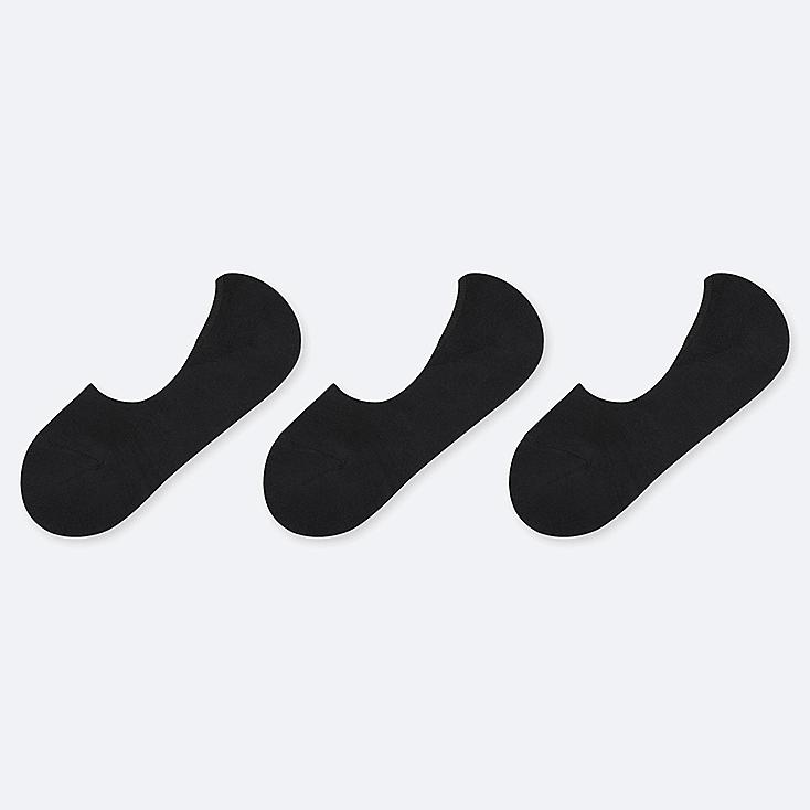 WOMEN PILE FOOTSIES (3 PAIRS), BLACK, large