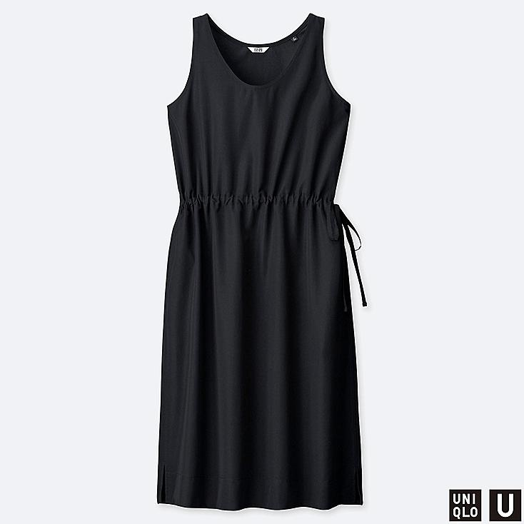 WOMEN U DRAWSTRING SLEEVELESS DRESS, BLACK, large