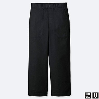 MEN U WIDE STRAIGHT BAKER PANTS, BLACK, medium